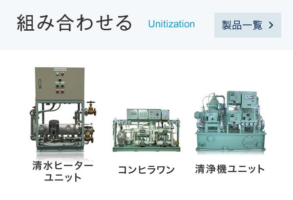 組み合わせる Unitization(清水ヒーターユニット、コンヒラワン、清浄機ユニットなど)